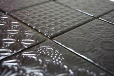Mosaïque carreau vintage rétro céramique noir et noir-esprit 22B-1403_b  1plaque