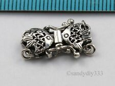 1x OXIDIZED STERLING SILVER 2-STRAND FISH PEARL BOX CLASP N109