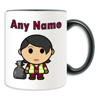 Personalised Gift Recycling Worker Bin Mug Cup Birthday Christmas Name Text Her