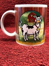 Houston Harvest Farm Coffee Mug Holstein Cow & Chickens in Barn w Hay #1890