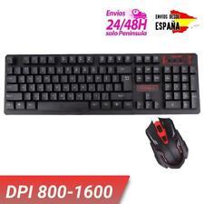 Teclado y ratón gaming inalámbrico DPI ajustable 1600 2,4 Ghz para ordenador