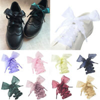 Girl Shoelaces Flat Silk Satin Ribbon Sport Shoes Laces Sneakers Shoestrings 4cm