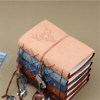 A6 PU Leather Vintage Journal Notebook Lined Paper Diary Planner 160 Pages