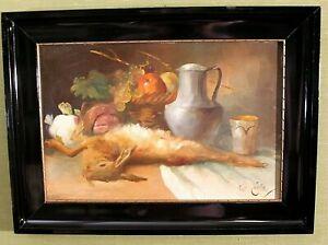 "Karl Jutz .(1838-1916) ""Wildstilleben"" Öl/Malpappe 32 cm x 47 cm"