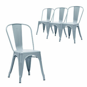 Set of 4 Tolix Style Metal Dining Chairs Industrial Vintage Cafe Stackable Chair