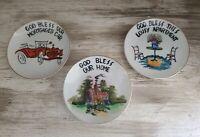 Set of 3 Vintage GOD BLESS OUR HOME Decorative Plate Victoria Ceramics Japan