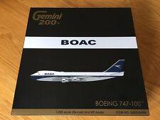 BOAC 747-100 Boeing Polished Model 1:200 Gemini Diecast G-AWNF G2BOA654 & Stand