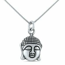 "Sterling Silver Buddha Head Necklace (18"" chain included)"