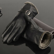 Mens Genuine Leather Sheepskin Soft Winter Gloves Mittens Driving Black