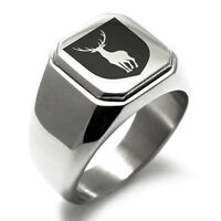 Stainless Steel Purity Coat of Arms Shield Mens Square Biker Style Signet Ring