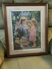 vintage home interior Framed Picture Girl & Puppy Angel Garden