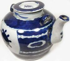 "19th Antique Century China Exceptional Lg Blue+White ""Ming"" Porcelain Teapot"