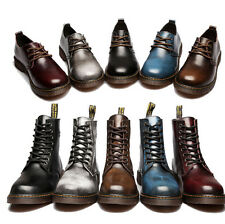 Mens Lace Up Wedge Inside Biker Cowboy Winter Riding Oxford High Top Boots Shoes