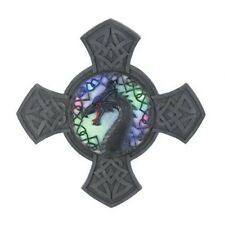 LIGHT UP DRAGON CREST Wall Plaque Faux Stone Multi Color Coat of Arms Hanging