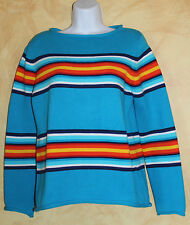 Ralph Lauren Bright Colorful Turquoise Stripe Southwest Inspired Sweater Sz S