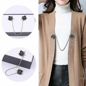 Retro Women Sweater Shawl Clips Cardigan Dresses Brooch Flowers Collar Pin Chain