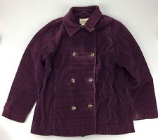 LL BEAN Woman's Purple Corduroy Waist Coat Jacket Medium Regular Double Breasted