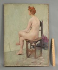 1906 Antique American Portrait Oil Painting, Nude Woman Redhead on Chair NR