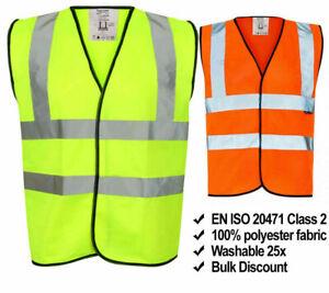 Yellow Hi Vis High Viz Visibility Vest Waistcoat Safety EN ISO 20471 SUPREME TTF