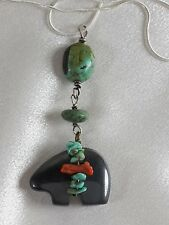 Vtg Hematite Bear Fetish, Turquoise and Coral and Scarab Necklace