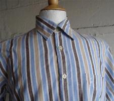 Daniel Hechter CORTO -sleeve Camicia blu /marrone/ a righe bianche taglia M 078