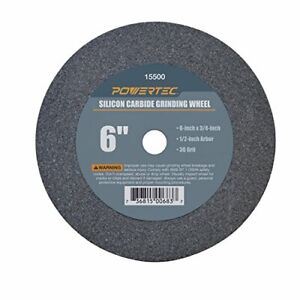 "POWERTEC 15500 1/2"" Arbor 36-Grit Silicon Carbide Grinding Wheel 6"" x 3/4"""