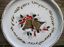 """Vintage NashCo Tole Tray White Tray with Gold Christmas Bells Bows and Holly 11"""""""