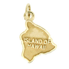 14Kt Yellow Gold Polished Textured Travel Island of Hawaii Charm Pendant