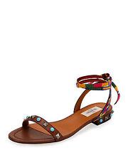 Valentino Rockstud Rolling Embroidered Flat Sandal Original: $795.00 Size 39/9