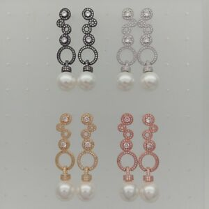 12mm White Sea Shell Pearl CZ Pave Stud Earrings
