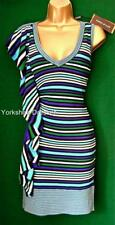 New KAREN MILLEN Uk 6 8 Blue Green Stripe Stretch RUFFLE KNIT BodyCon Dress Sz 1