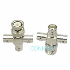 1pce BNC male to three BNC female cross + in series RF adapter connector 4 way