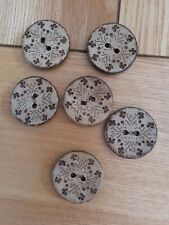 6 High Quality Shell engraved Wooden Buttons