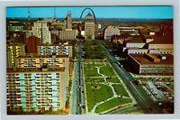 Saint Louis MO, Birdseye View Gateway Mall, Arch, Chrome Missouri Postcard