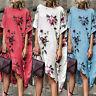 Women Boho Print Sleeveless Beach Sundress Casual Asymmetrical Loose Knee Dress