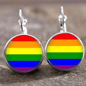 10 pair Gay Pride LGBT Silver Trendy Glass cabochon 18 MM Lever Back Earrings