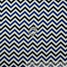BonEful Fabric FQ Cotton Quilt White Blue Navy Black DUKE School Chevron Stripe