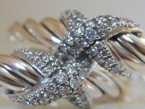 DAVID YURMAN STERLING SILVER LARGE CROSS X DIAMOND EARRINGS