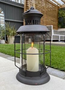 Black Metal Lantern Vintage French Style Round Wedding Tea Light Candle Holder