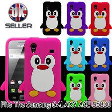 Nuevo Samsung Galaxy ACE S5830 Lindo Pingüino Silicona Suave Funda Protectora De Teléfono