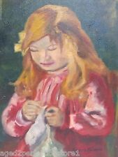 Old Oil on Canvas Young Girl Sewing Knitting signed Frances Salerno painting