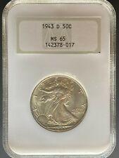 1943-D Walking Liberty Half Dollar - NGC MS65