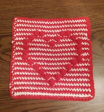 Red White 8X8 Heart Hand Crocheted Cotton Thick Hot Pad Dish Wash Cloth Trivet