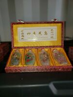 4 vintage snuff bottles with reversed handpainted scenes. Flowers & Birds Of Fou