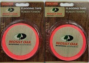 2 Rolls of Mossy Oak Hunting Blaze Orange Reflective Flagging Tape 150'