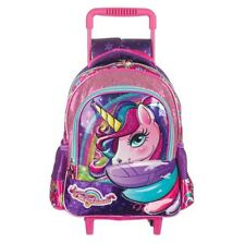 Unicorn 3D school backpack bag kindergarten children girls kids trolley wheels