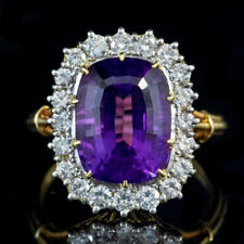 VINTAGE AMETHYST DIAMOND RING 18CT GOLD 6CT AMETHYST DATED 1974
