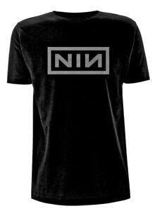 Official Nine Inch Nails T Shirt Grey logo Classic Mens Rock Metal Tee Black NEW