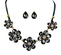 Black Diamond Crystal Flower Statement Necklace and Earring Set - New