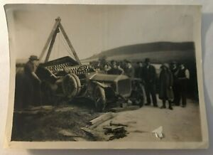 Antique Photograph Of an Early Car Accident Recovery